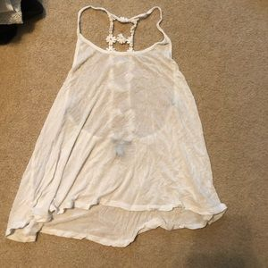 White Flower Strap Tank Top